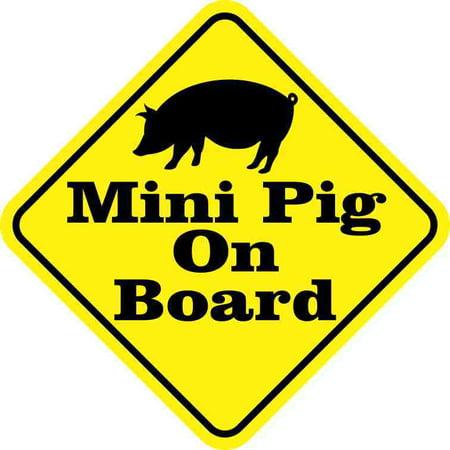 5in x 5in Mini Pig On Board Sticker Car Truck Vehicle Bumper Decal
