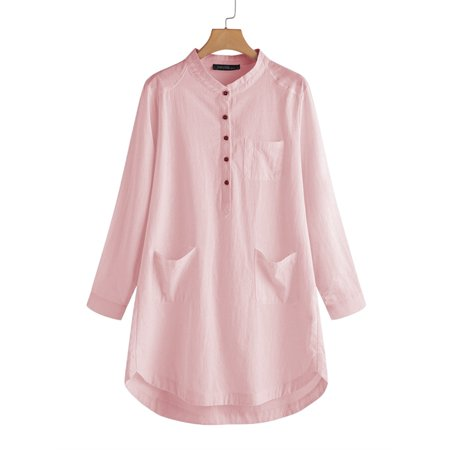 Womens Long Sleeve Button Down Casual Shirt Dress