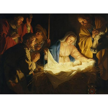 Christian Painting (The Adoration of the Shepherds, 1622 Nativity Christian Art Painting Print Wall Art By Gerrit van)