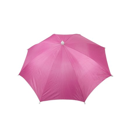 Unique Bargains Outdoor Hands Free Sun Umbrella Hat Headwear Fuchsia ... 2a417775c357