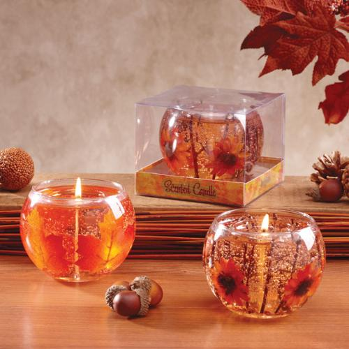 """4 Fall Leaf and Orange Gerber Daisy Glass Gel Candles 4"""" - Autumn Scented"""