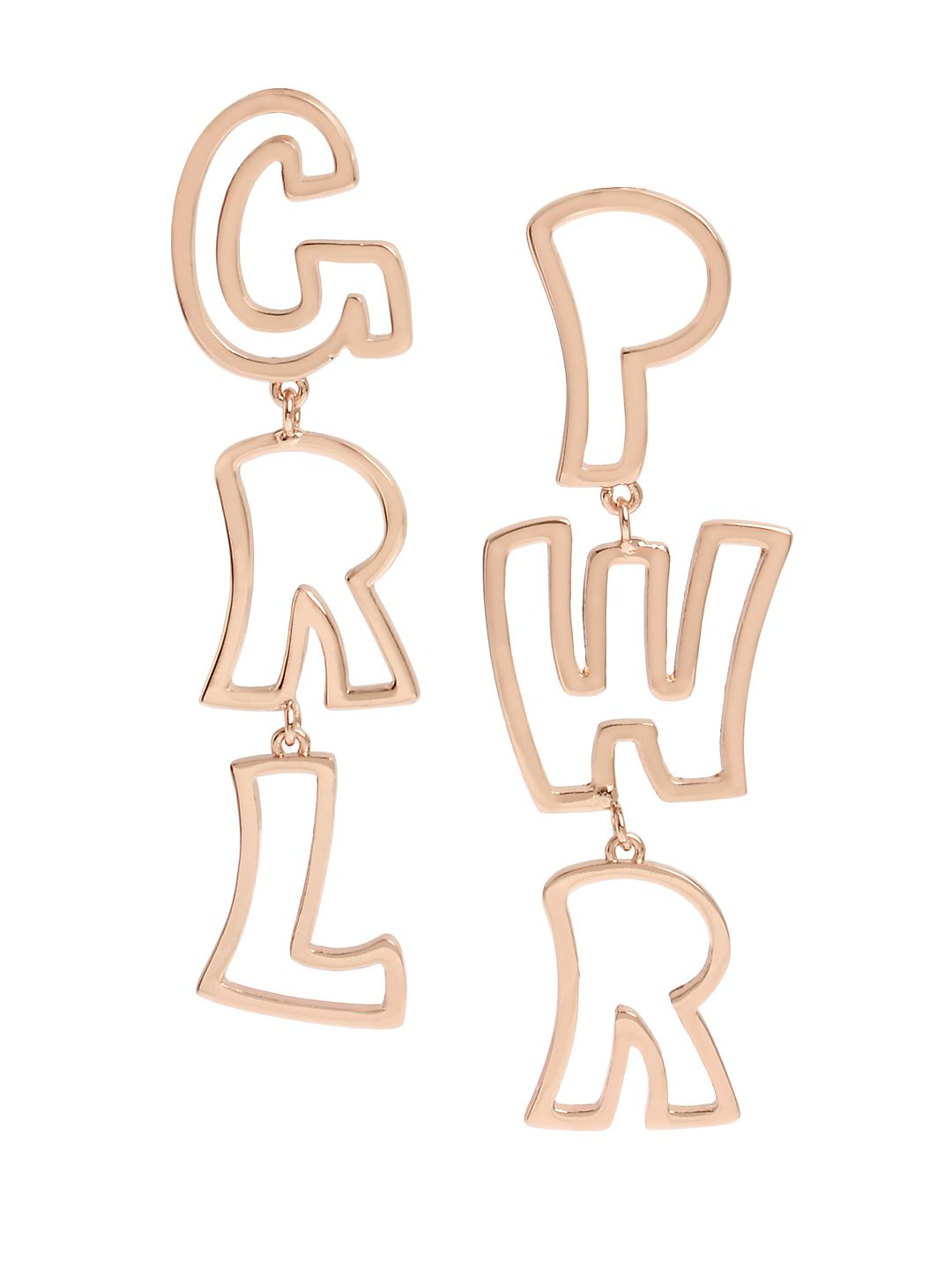 Affirmation GRL PWR Rose Goldtone Drop Earrings