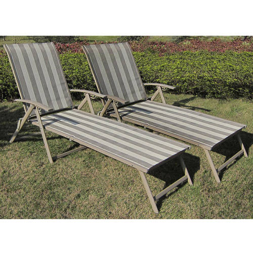 Mainstays Fair Park Sling Folding Chaise Lounge Chairs, Set of 2