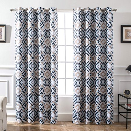 DriftAway Diamond Trellis Watercolor Geometric Checker Plaid Pattern Blackout/Room Darkening Unlined Thermal Insulated Grommet Window Curtains, Set Two Panels, Each Size 52