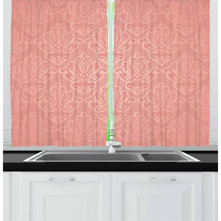 Peach Curtains 2 Panels Set, Lace Style Background with Antique Wedding Inspiration Motifs Ornamental Vintage Design, Window Drapes for Living Room Bedroom, 55W X 39L Inches, Coral, by Ambesonne