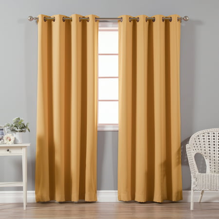 Quality Home Basic Thermal Blackout Curtains Antique Bronze Grommet Top Orange Set Of 2 Panels