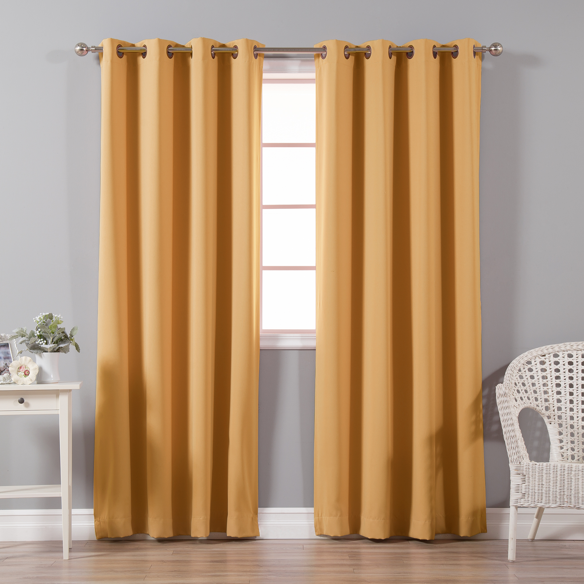Quality Home Basic Thermal Blackout Curtains   Antique Bronze Grommet Top    Brick (Set Of