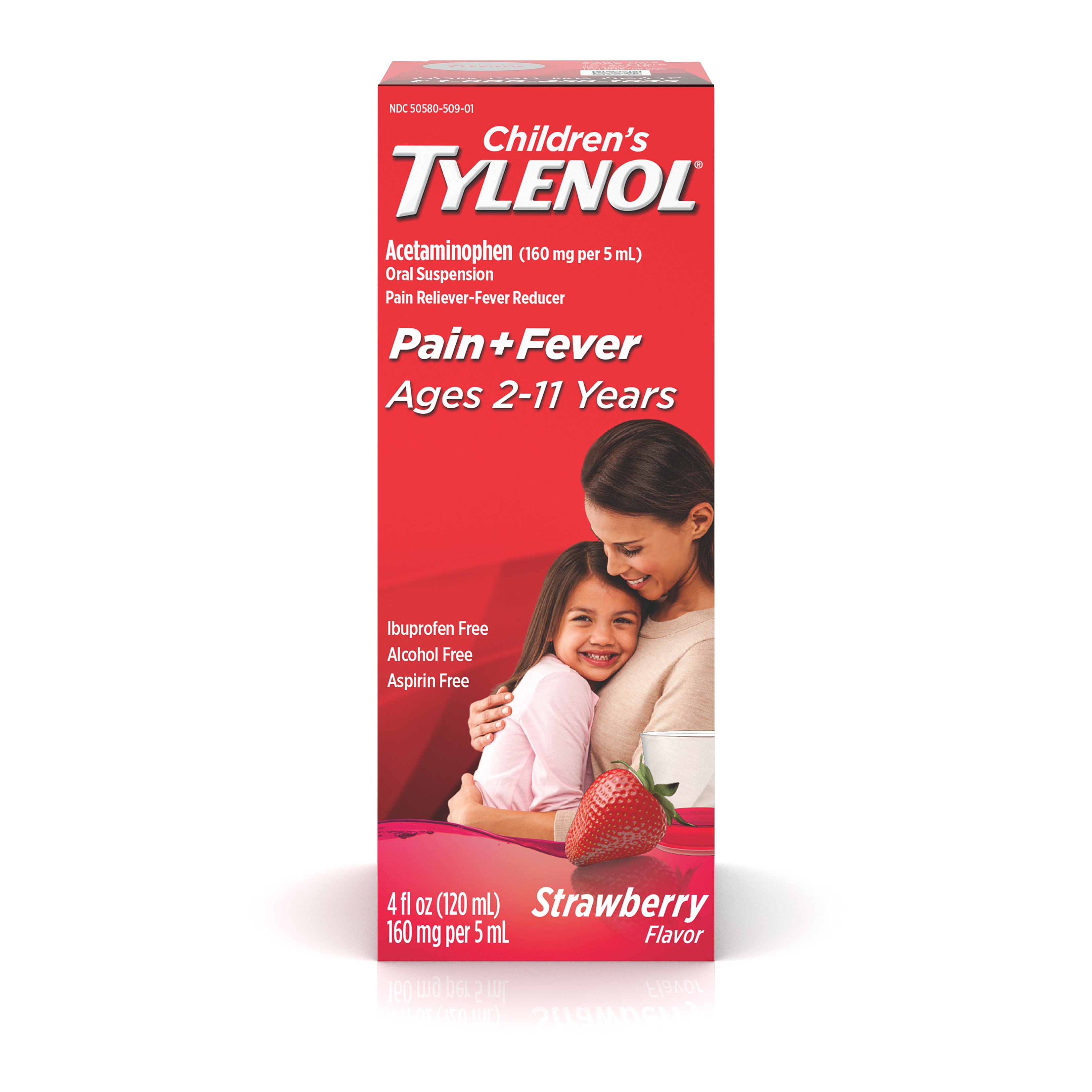 Children's Tylenol Oral Suspension, Fever Reducer and Pain Reliever, Strawberry, 4 fl oz