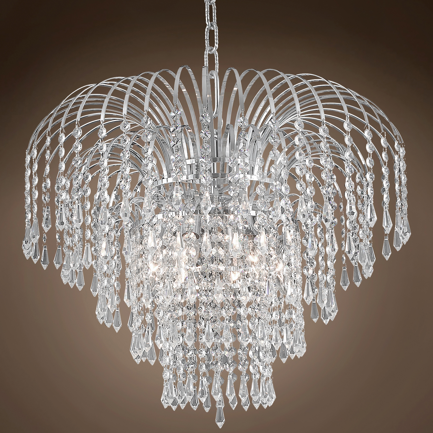 "Waterfall Design 6 Light 21"" Chrome Chandelier With Clear Asfour Crystals"
