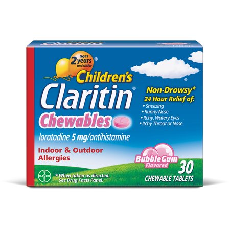 (Children's Claritin 24 Hour Allergy Relief Bubblegum Chewable Tablets, 5 mg, 30 Ct)