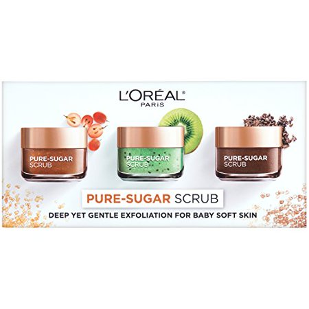 L'Oreal Paris Skincare Giftable Kit with 3 Pure-Sugar Scrub Varieties, Sugar Scrub for Face and Lips, Holiday Gift Set, 1
