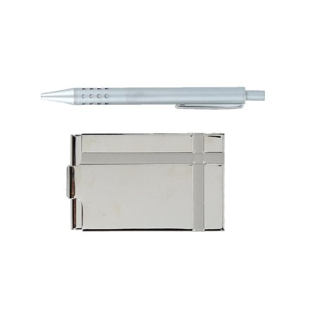 Silver Plated Business Card Holders - Size one size Business Card Holder and Pen Gift Set, Silver