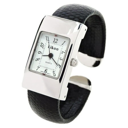 - Black Silver Snake Style Band Rectangle Case Women's Bangle Cuff Watch