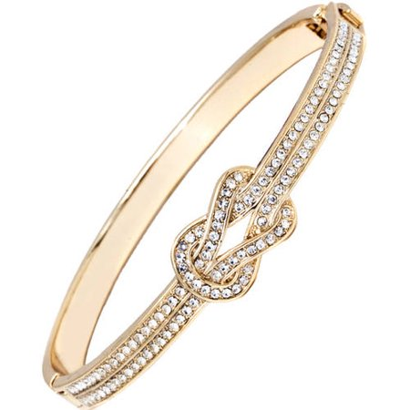 18k Iolite Bracelet (18k Gold-Plated Knot Bangle Bracelet Made With Swarovski)