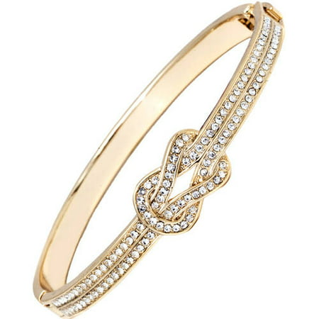 18k Gold-Plated Knot Bangle Bracelet Made With Swarovski Elements