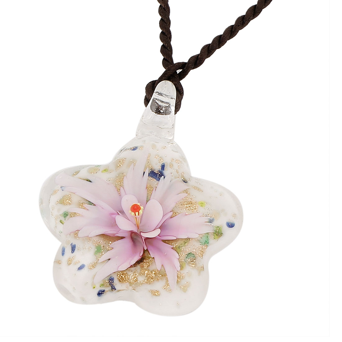 Unique Bargains Glass Pressed Flower Design Women Pendant Necklace Light Purple White