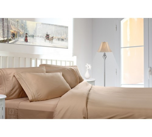 Clara Clark 1800 Series Deep Pocket 3pc Bed Sheet Set Twin XL Size, Taupe  Sand