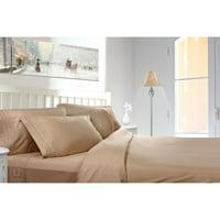 Clara Clark 1800 Series Deep Pocket 5pc Bed Sheet Set Split King Size, Taupe Sand