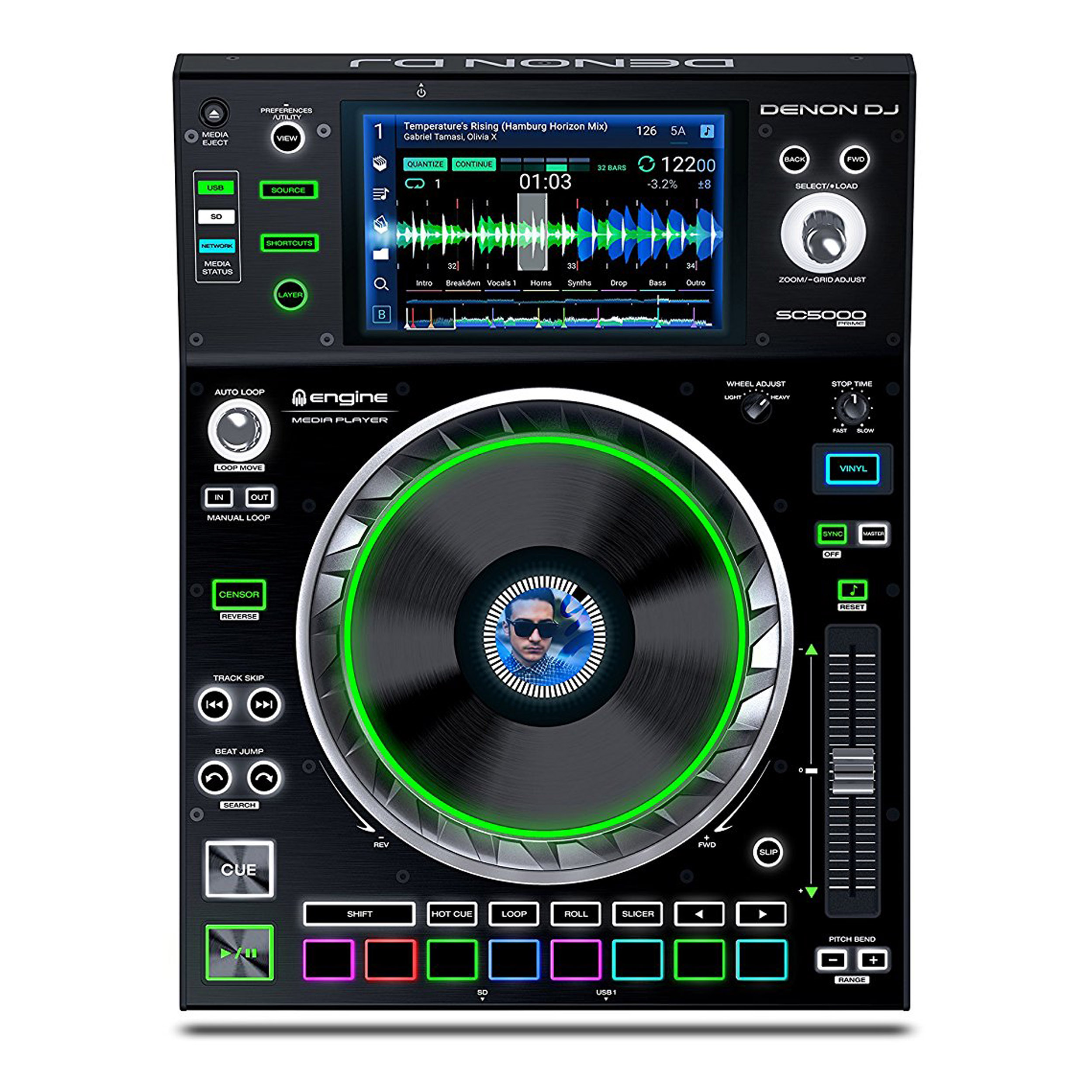 "Denon DJ SC5000 Prime | Engine Media Player with 7"" Multi-Touch Display by DENON"
