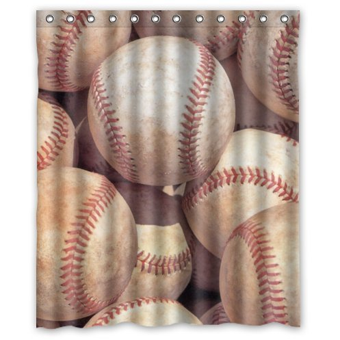 HelloDecor Baseball Shower Curtain Polyester Fabric Bathroom Decorative  Curtain Size 60x72 Inches