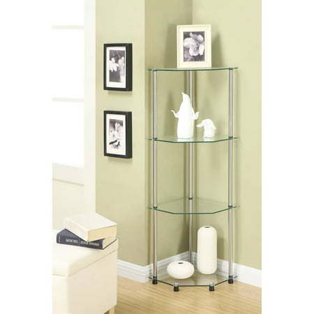 Convenience Concepts Designs2Go No Tools 4 Tier Corner Shelf, Multiple Colors