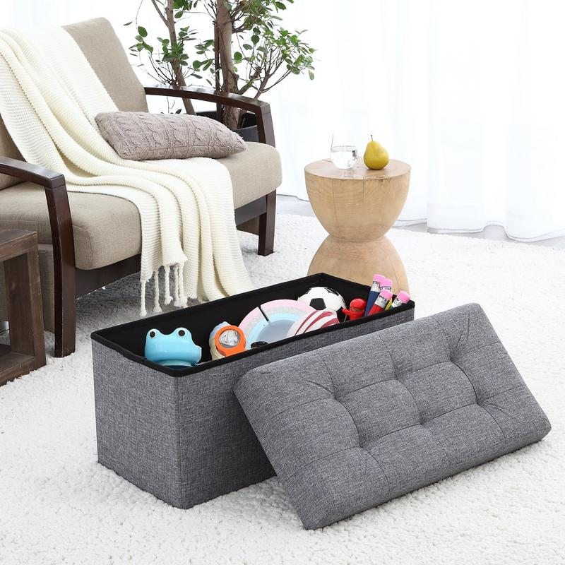 """Ornavo Foldable Tufted Linen Large Storage Ottoman Bench Foot Rest Stool Seat 15"""" x 30"""" x 15""""-... by Ornavo Home"""