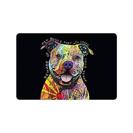 WinHome Beware of Pit Bulls They Will Steal Your Heart Doormat Floor Mats Rugs Outdoors/Indoor Doormat Size 23.6x15.7 inches
