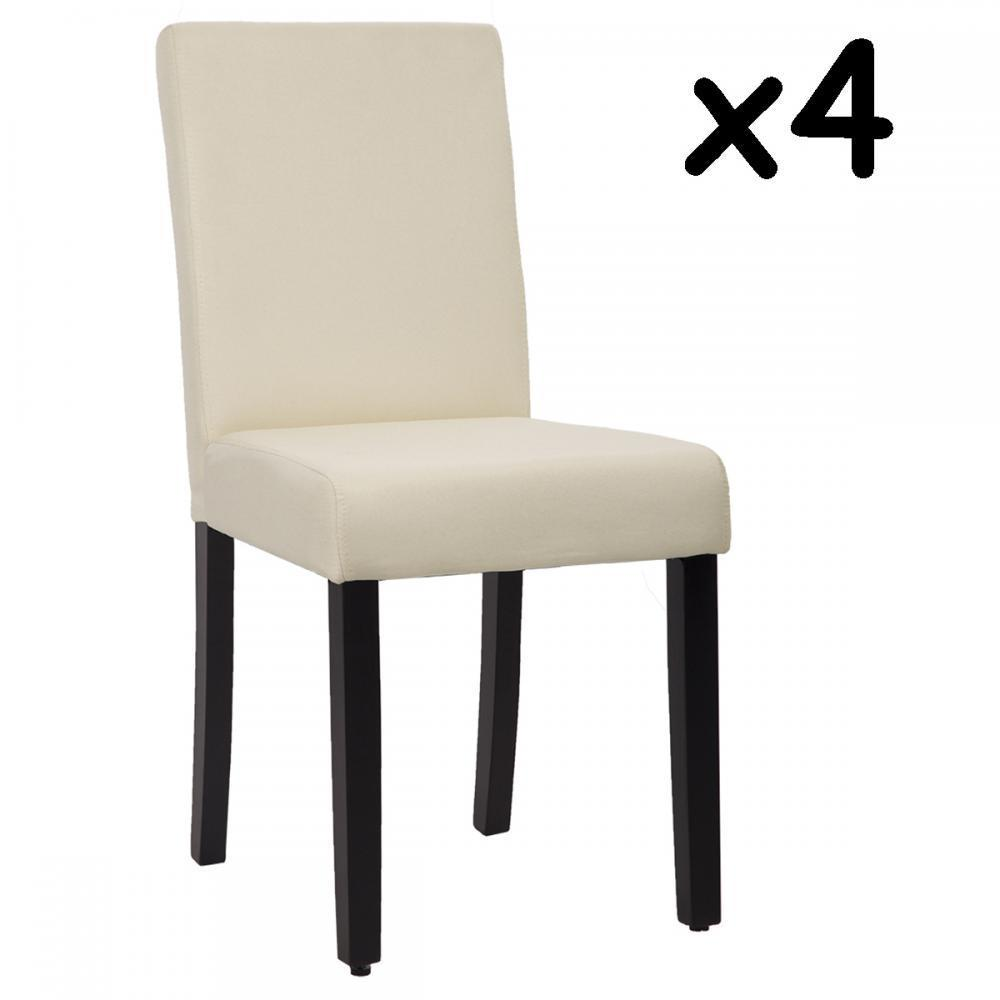 Dining Chairs Set of 4 Beige Elegant Design Modern Fabric Upholstered B164 by