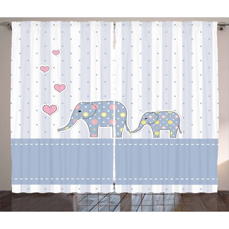 Elephant Nursery Decor Curtains 2 Panels Set Baby Shower Theme Cheerful Newborn Celebration Pastel Toned
