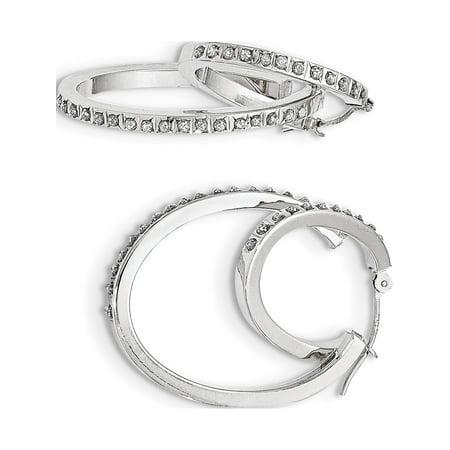 14k Boucles d'oreilles en or blanc blanc diamant Fascination Hinged Double Hoop (23x35mm) de - image 2 de 2