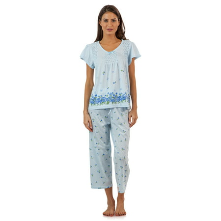 Casual Nights Women's Short Sleeve Floral Border Capri Pajama Set - Blue - 4X - Pink Footie Pajamas