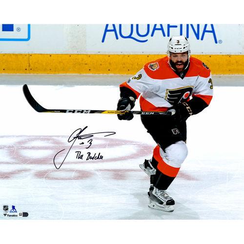 "Radko Gudas Philadelphia Flyers Autographed 16"" x 20"" White Jersey Skating Photograph with The Butcher... by Fanatics Authentic"