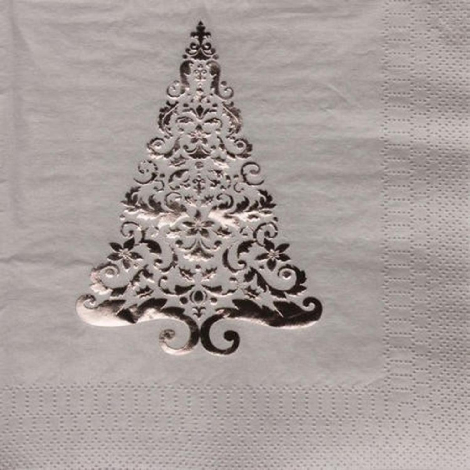 Pack of 192 Silver Glitz Foil Stamp Christmas Tree 3-Ply Party Lunch Napkins