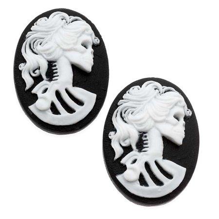 Lucite Oval Cameo - Black With White Lolita Skeleton 25x18mm (2 Pieces) - Skeleton Cameo