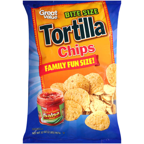 Great Value Bite Size Tortilla Chips, 32 oz
