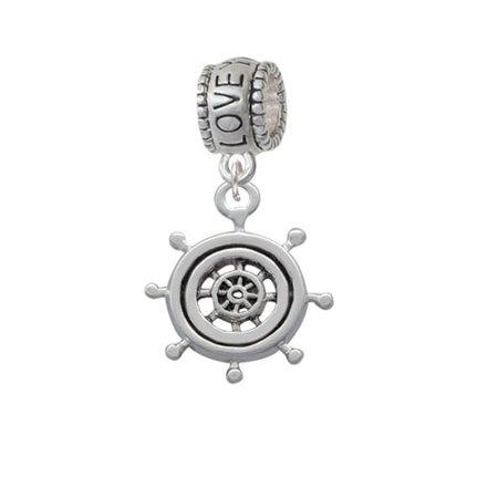 Antiqued Ship Wheel   Love You More Charm Bead