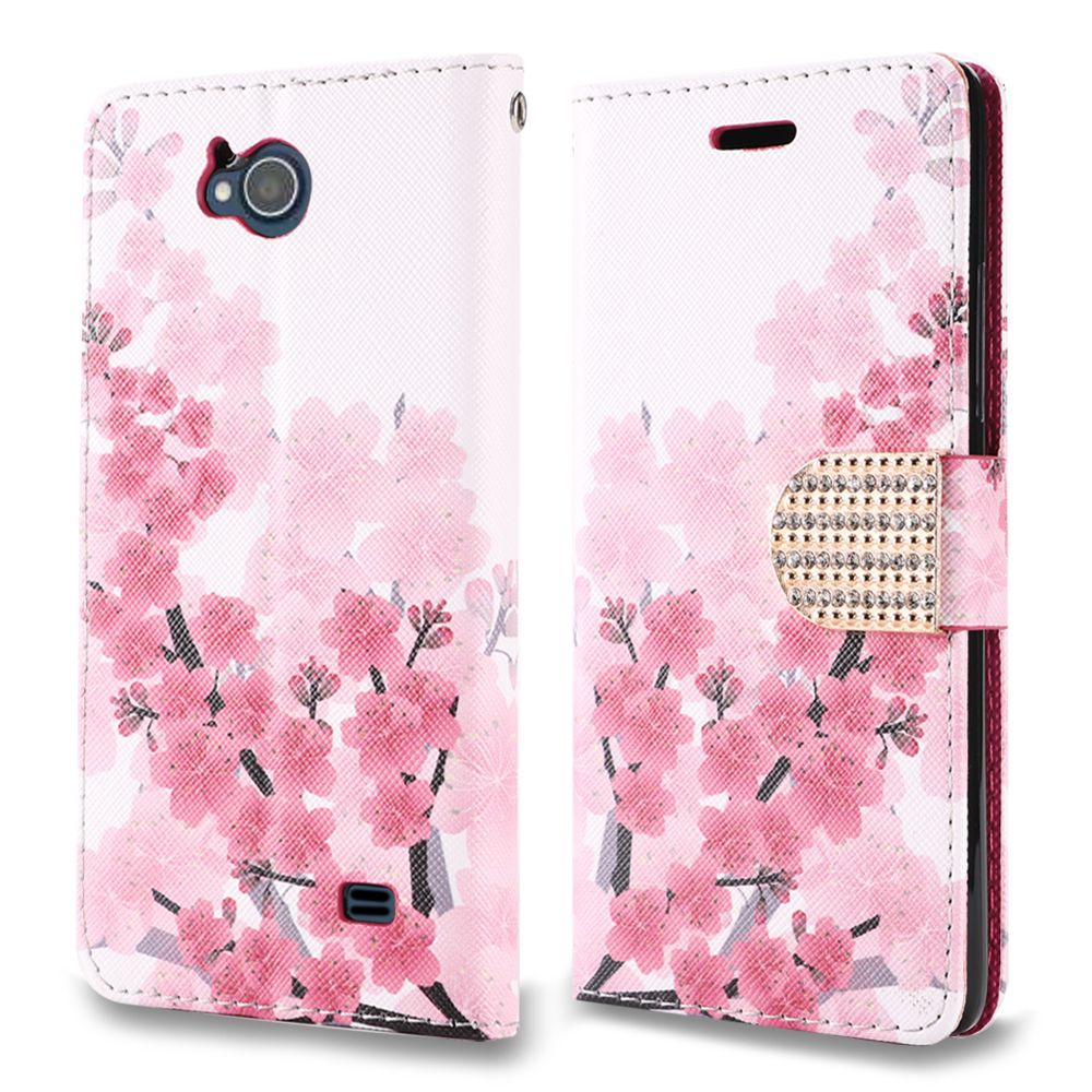 Synthetic PU Leather Wallet Carrying Case - [Cherry Blossom] and Atom Cloth for ZTE Majesty Pro / Majestry Pro Plus