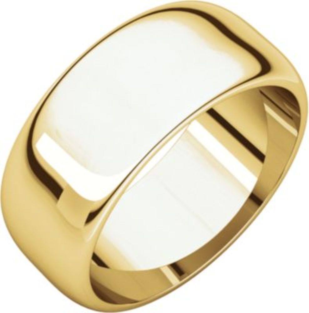 8mm Half Round Band in 18k Yellow Gold - Size 10.5