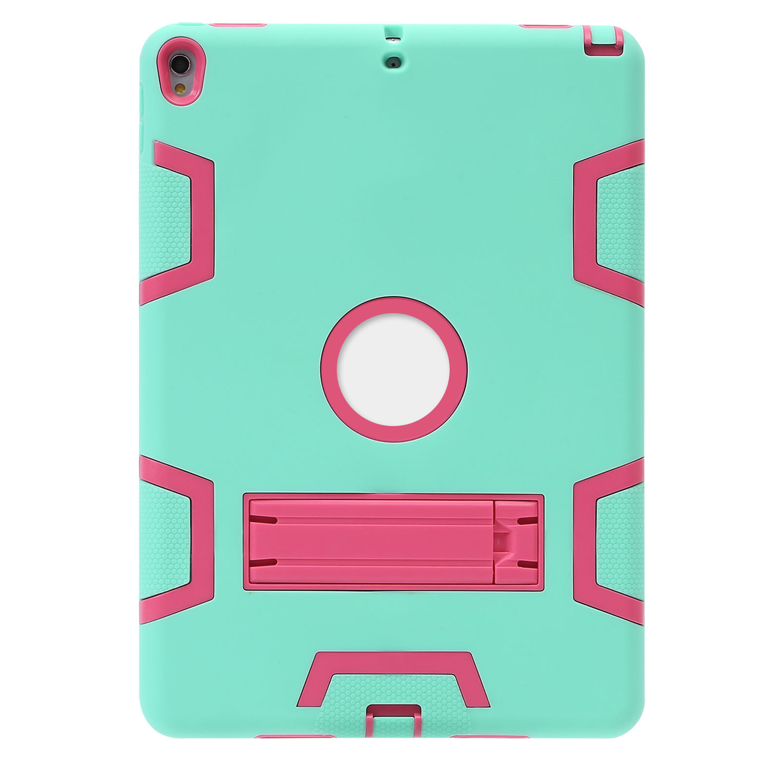 iPad 2017 Pro 10.5 Inch Case, TKOOFN Heavy Duty Hybrid Armor Shockproof Built-in Kickstand Protective Case Blue+Lime Green