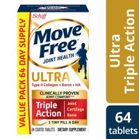 Move Free Ultra Triple Action - 64 Tablets, Value Pack - Joint Health Supplement with Type II Collagen, Boron, and HA