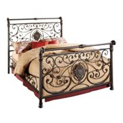Bowery Hill King Metal Sleigh Bed in Antique Brown