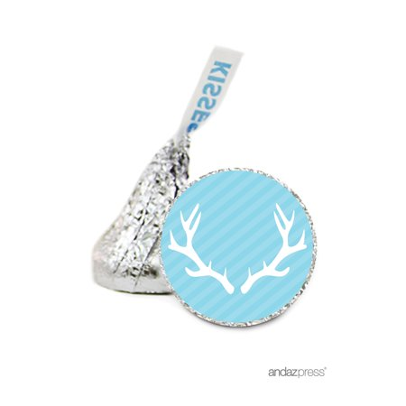 Boy Baby Blue Deer Antlers Hershey´s Kiss Baby Shower Stickers, 216-Pack](Wholesale Stickers)