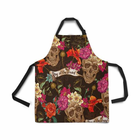 ASHLEIGH Adjustable Bib Apron for Women Men Girls Chef with Pockets Skull Flowers Day of The Dead Dia De Muertos Novelty Kitchen Apron for Cooking Baking Gardening Pet Grooming