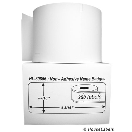 9 Rolls; 250 Labels per Roll of DYMO-Compatible 30856 Non-Adhesive Name Badges (2-7/16