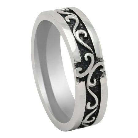 David Keltic 6mm Stainless Steel Antiqued Wedding Band Ring Ginger Lyne - Antique Style Wedding Band