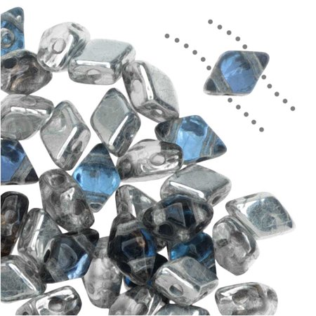 Czech Glass DiamonDuo Mini, 2-Hole Diamond Shaped Beads 4x6mm, 8 Grams, Prismatic Stormy (Prismatic Gems)