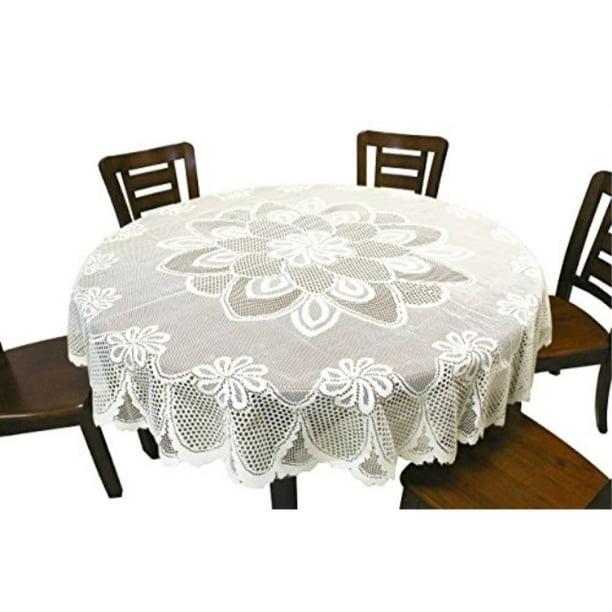 Gefeii Kitchen Round White Lace, Round White Tablecloths For Wedding