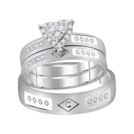Thejewelrymaster 14kt White Gold His Hers Round Diamond Heart