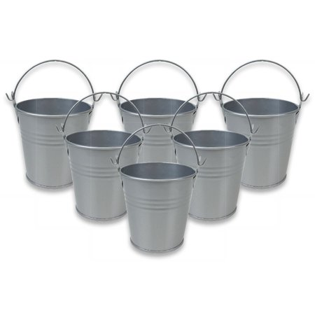 "Just Artifacts Mini 3""H Metal Crayon/Pencil Holder Favor Bucket Pail (6pcs, Grey) - Metal Favor Buckets and Craft Supply Holders for School, Birthday Parties and Events!"
