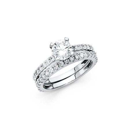 14K Solid White Gold 1.25 cttw Cubic Zirconia Wedding Engagement 2 Piece Bridal Ring Set, Size 9.5 - Center Pieces For Wedding